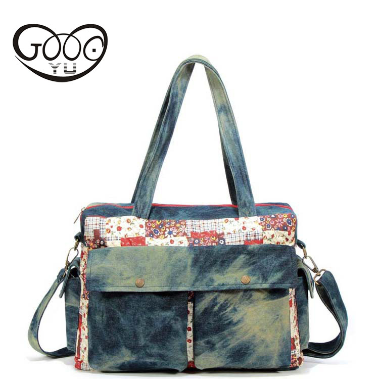 The new national style cross-style square-style women's bag excellent quality canvas stitching shoulder bag superb craft printin style