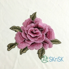 2pcs/lot 21*17cm 3D rose peony flower patch Embroidered garment Appliques sew On Patches Clothes cheongsam dress Accessory A1 embroidered rose patch tee dress