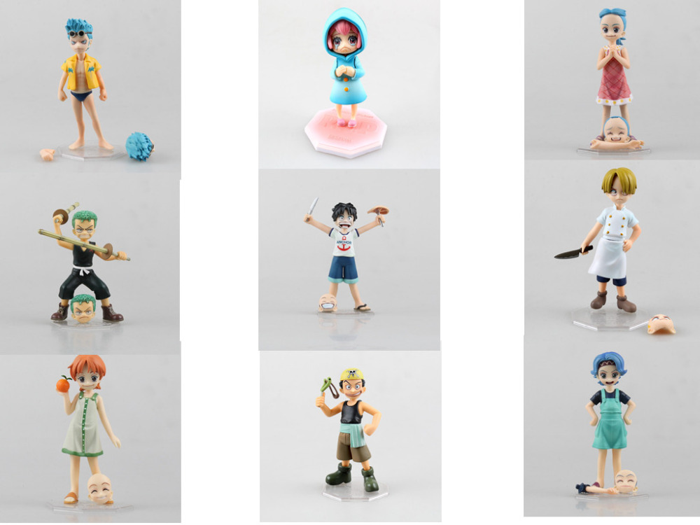 Anime One Piece 12CM POP Rebecca Luffy Zoro Nami Sanji Robin Usopp Franky Childhood ver. PVC Action Figure Collectible Model Toy one piece action figure roronoa zoro led light figuarts zero model toy 200mm pvc toy one piece anime zoro figurine diorama
