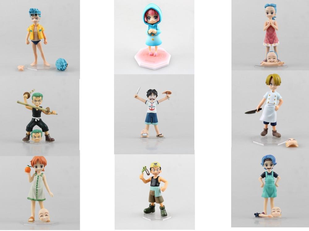 Anime One Piece 12CM POP Rebecca Luffy Zoro Nami Sanji Robin Usopp Franky Childhood ver. PVC Action Figure Collectible Model Toy