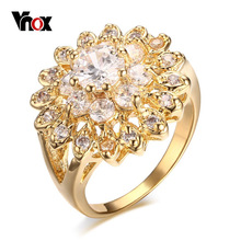 Vnox Ring for Women / Girl Engagement Austrian Crystal  Gold Plated