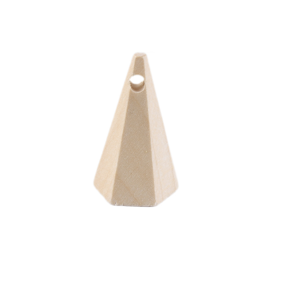 DoreenBeads Natural Wood Spacer Beads Cone Style Fashion DIY Components 36mm(1 3/8) x 22mm( 7/8), Hole: Approx 3.5mm, 5 PCs