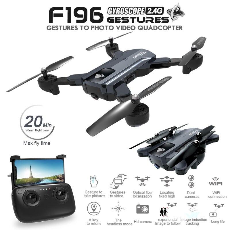 F196 Drone Pliable avec 2MP HD Caméra Flux Optique Dron Contrôle Gestuel 20 minutes de Temps de Vol RC Quadricoptère VS SG700 visuo XS809S