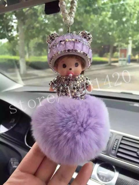 Monchichi Pendants Keychains Women Car Accessories Rear View Mirror Charm Light Purple Pompoms Lavenders Sparkly Kawaii Charm