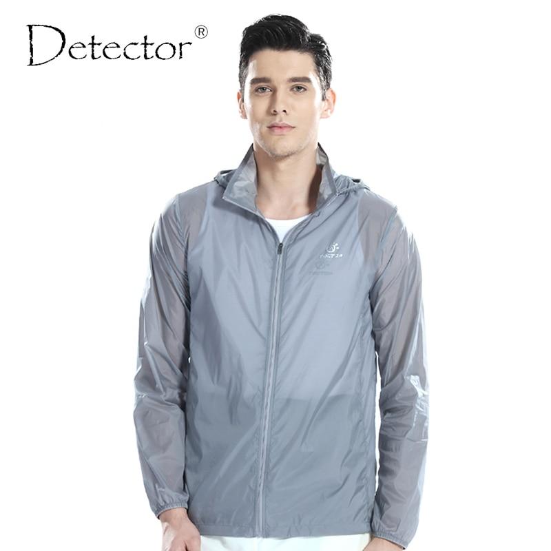 Detector Men Outdoor Ultralight Water Resistant Windbreaker UV Anti Protection Skin Jacket Camping Hiking Jacket Thin Sport Coat
