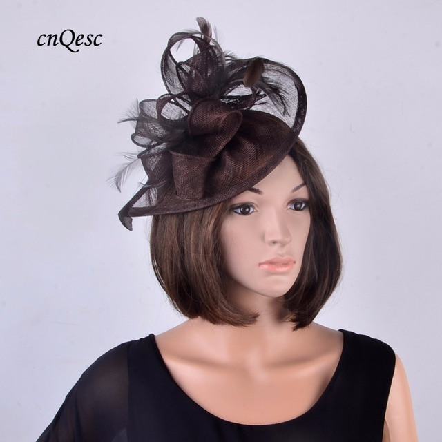 Chocolate brown fedora high quality Sinamay Fascinator Church Hat bridal  headpiece for Wedding 2b1cf773e8d
