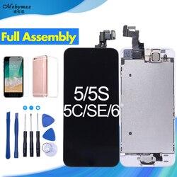 Полное собрание ЖК-дисплей для iPhone 5 Экран 5S 5C SE Дисплей Замена сенсорного планшета для iPhone 6 Дисплей + Home кнопка + Фронтальная камера