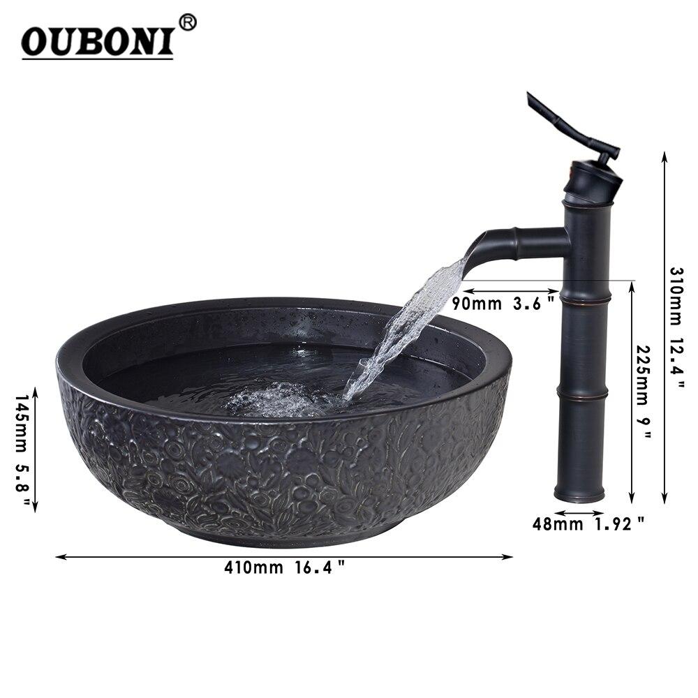 Bathroom Bowl Sink Ceramic Washbasin Handpainting Lavatory Bath Basin  Combine With Brass Faucet Mixer Tap