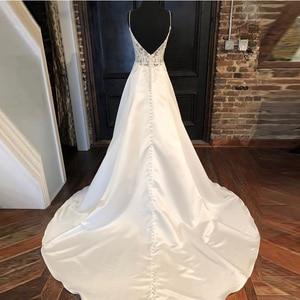 Image 2 - חתונה אלגנטית שמלות אונליין אפליקציות ספגטי רצועות Vestido דה Noiva אשליה מחוך ללא משענת לבן שמלות כלה