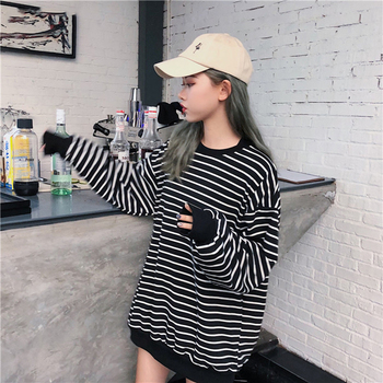 Hoodies Women Elastic Cuff Hem O-Neck Striped Loose Retro Chic Korean Style Harajuku Soft Trendy Sweatshirts Womens All-match 6