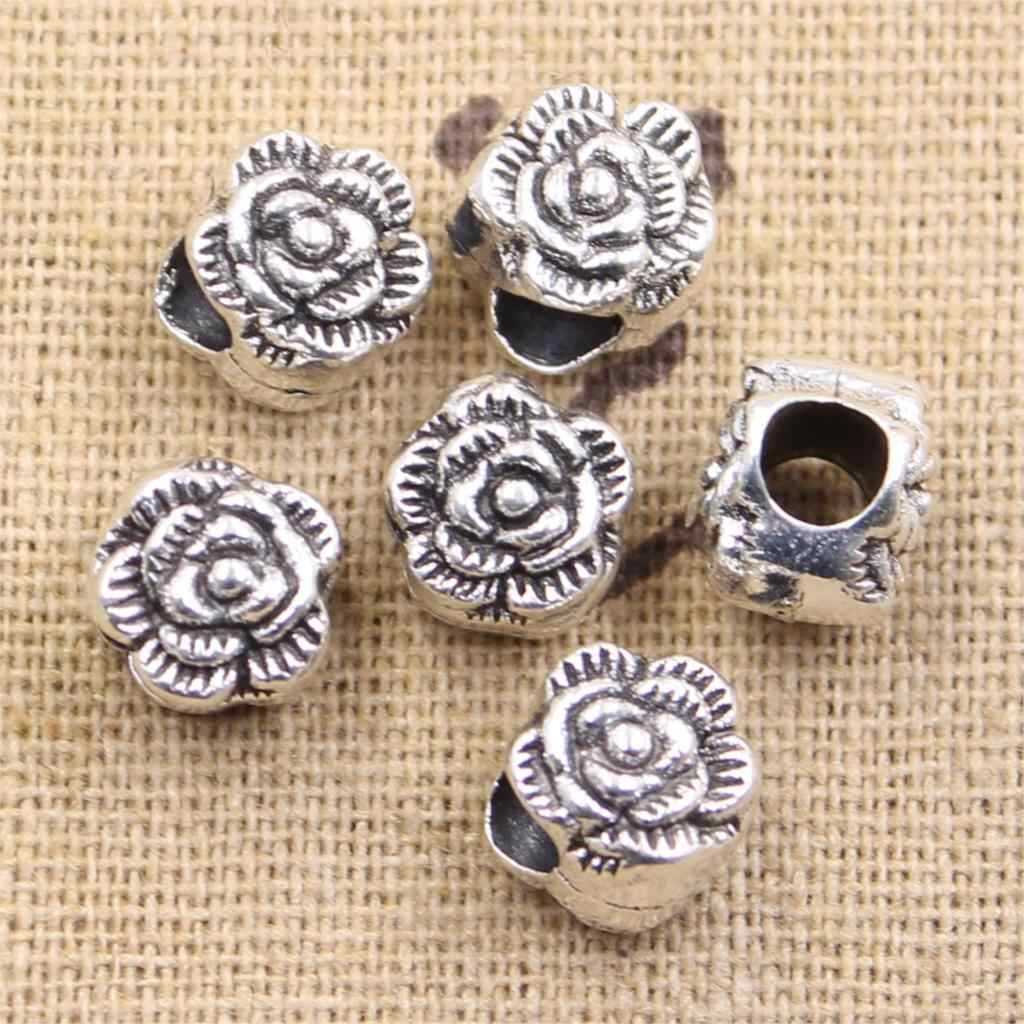 6pcs 10x9x9mm flower rose 4.5mm big hole bead charm fits antique silver charm bracelets Wholesale