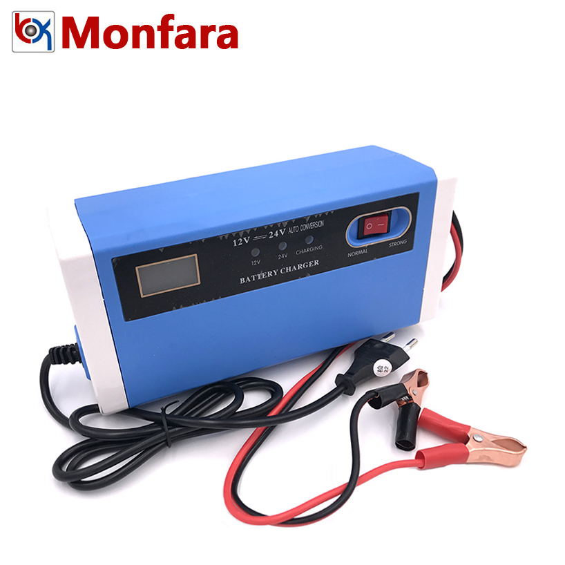 12V 24V 10A Automatic Car Battery Charger Intelligent Repair Type Power Charging Auto Stop LED Dry Wet Lead Acid Batteries 100AH
