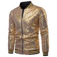 JAYCOSIN Winter Jacket Gold High Quality Men's Autumn Casual Jacket Long Sleeve Jacket Sequin Party Top Baseball Wear