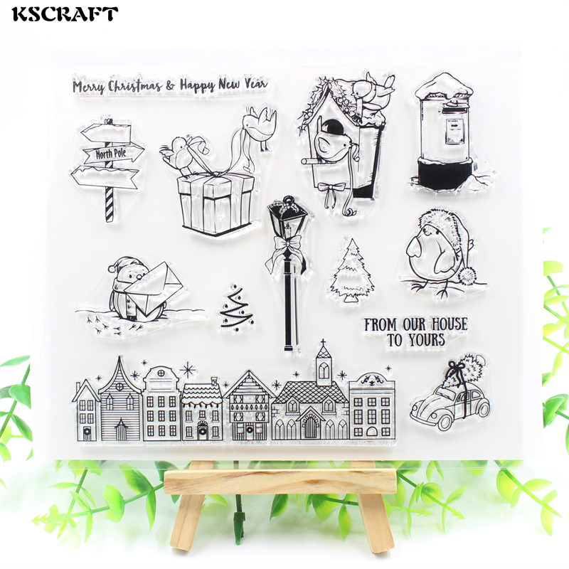 KSCRAFT From Our House To Yours Transparent Clear Silicone Stamps for DIY Scrapbooking/Card Making/Kids Fun Decoration Supplies kscraft butterfly and insects transparent clear silicone stamps for diy scrapbooking card making kids fun decoration supplies
