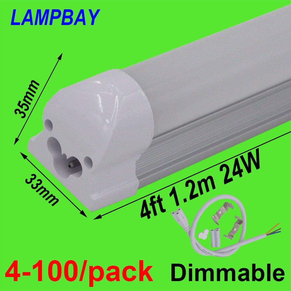 4-100/paquet Dimmable LED Tube lumière 4ft 1.2 m 48