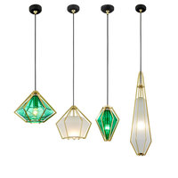 Fashion Green diamonds pendant lights Modern LED E27 Kitchen Glass metal lamps living room bedroom restaurant