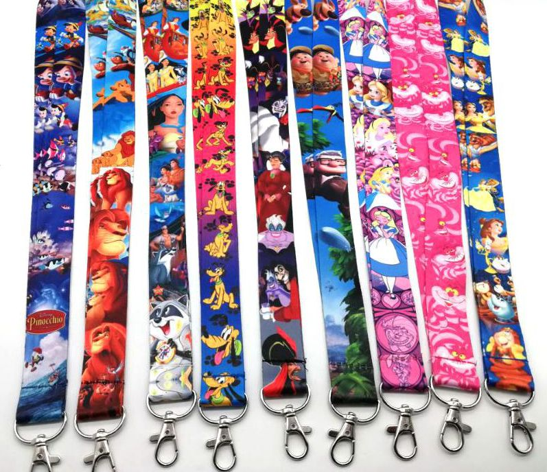 10pcs/20pcs/30pcs/50pcs Alice Princess Cat Lion King Reverse Character Neck Strap Lanyard Mobile Phone Key Chain ID Badge D26