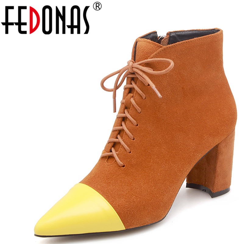 FEDONAS Women Ankle Boots High Heels Pointed Toe Cow Suede Martin Boots Retro Patchwork Autumn Winter Shoes Woman High Boots enmayla autumn winter chelsea ankle boots for women faux suede square toe high heels shoes woman chunky heels boots khaki black