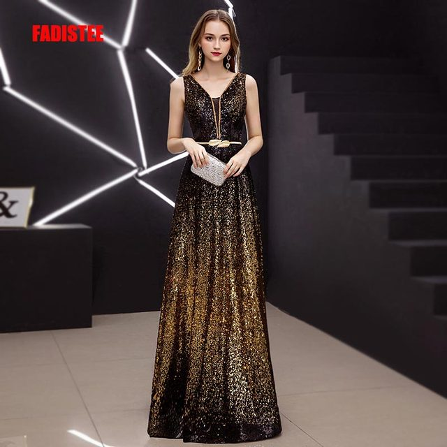 FADISTEE New Vestido De Festa Doce Vestido de Noite Longo Festa Noiva sleevesless lantejoulas Prom Vestidos de ouro preto de fenda no pescoço 2019