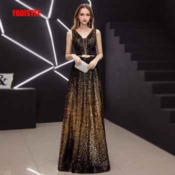 FADISTEE New Vestido De Festa Sweet Long Evening Dress Bride Party sleevesless sequins Prom Dresses gold black slit neck 2019 - Category 🛒 Weddings & Events