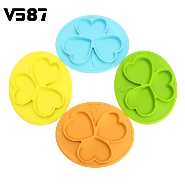 Children Silicone Feeding Food Plate Non Slip Sunscreen Clover Design  Adsorption Table Baby Peace Of