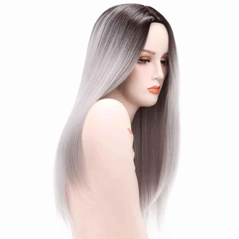 """Luxus Für Flechten 26 """"Ombre Grau Blonde Braun Gerade Haar Ombre Synthetische Perücken für Frauen Hitze Beständig Faser Cosplay perücke"""