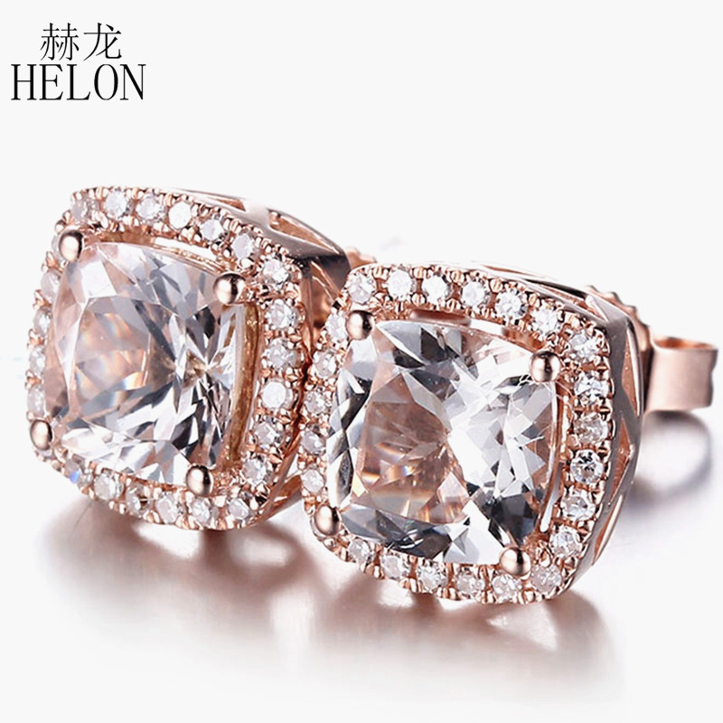 HELON Solid 10K Rose Gold 6mm Cushion Lightest Pink Morganite & diamonds Stud Earrings Women Elegant Birthday Gift Fine Jewelry starry pattern gold plated alloy rhinestone stud earrings for women pink pair