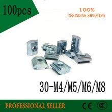 100 Uds 30 M4 30 M5 30 M6 30 M8 t tuercas T deslizantes tuercas cuadradas para la serie 3030 perfiles de aluminio accesorios ranura 8
