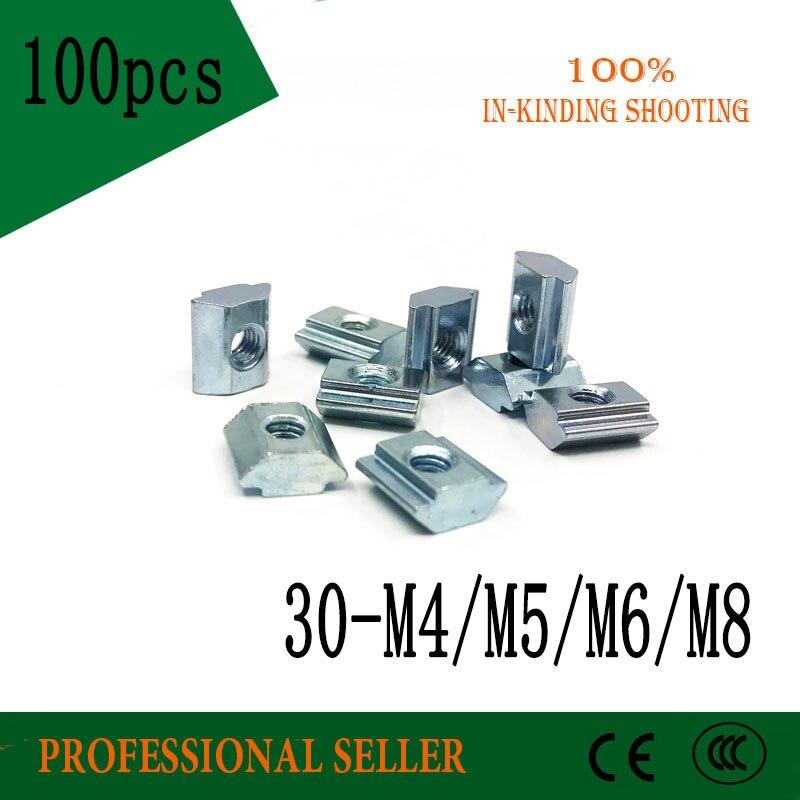 100pcs T Sliding Nut 30-M4 30-M5 30-M6 30-M8 Square Block Nuts for 3030 Series Aluminum Profile Accessories Groove 8 demeter honeysuckle 30