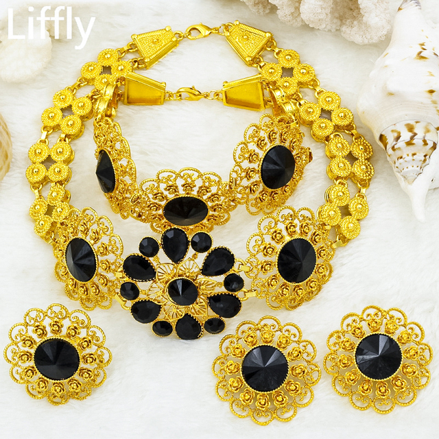 Liffly Braut Schmuck Set Nigerian Hochzeit Dubai Gold Schmuck Sets für Frauen Afrikanische Große Blumen Halskette Ohrringe Schmuck