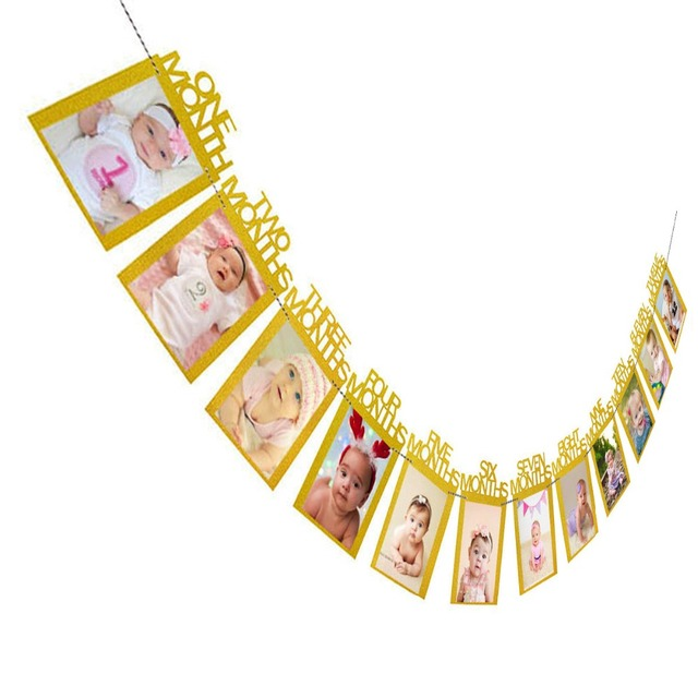 12 Months Photo Frame Banner First Birthday Decorations