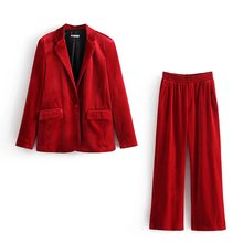 Set female 2019spring and autumn new solid color suit high waist casual pants two sets of temperament wild loose women's clothes