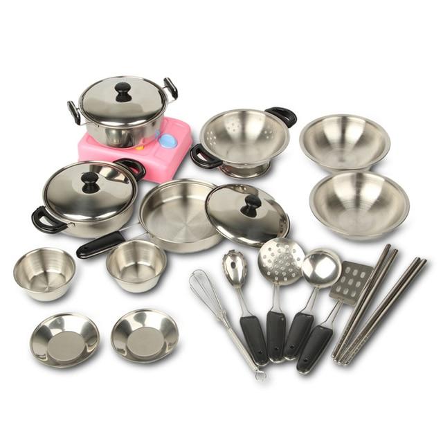Kids Pretend Play Kitchen Toys Kitchenware Miniature Cooking Set For Children Kitchen Accessories Stainless Steel
