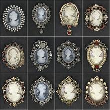 Venta directa de fábrica, estilos surtidos, cristales de estrás, camafeo, broche Vintage, Pins para mujeres en colores oro/plata antiguos
