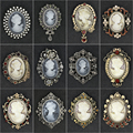 Venta directa de fábrica estilos surtidos Cristal Diamantes de imitación camafeo broche Vintage pines para mujeres en colores antiguos oro/plata