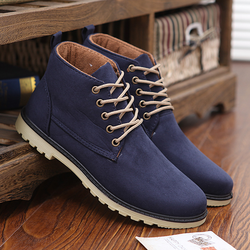 Casual Qualité Mode Chaud Cheville De Haute En Daim Bottes Cuir Beige Hiver bleu Chaussures Hommes Social Respirant 2018 noir Mâle Tissu gPwxZ5AFqW