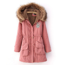 S/M/L/XL/2XL/3XL LADY WOMEN'S WINTER WARM LONG HOODED FLEECE FUR LONG ZIPPER COAT PEACOAT PARKA JACKET BLACK PINK BLUE OUTERWEAR(China)