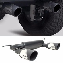 Matte Black Dual Cat Back Exhaust Muffler System for 2007-2016 Jeep Wrangler JK 2/4DR