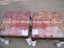 Free shipping square wood ottoman,cripple, footrest, footstool with hand engraving and aubusson stool covers