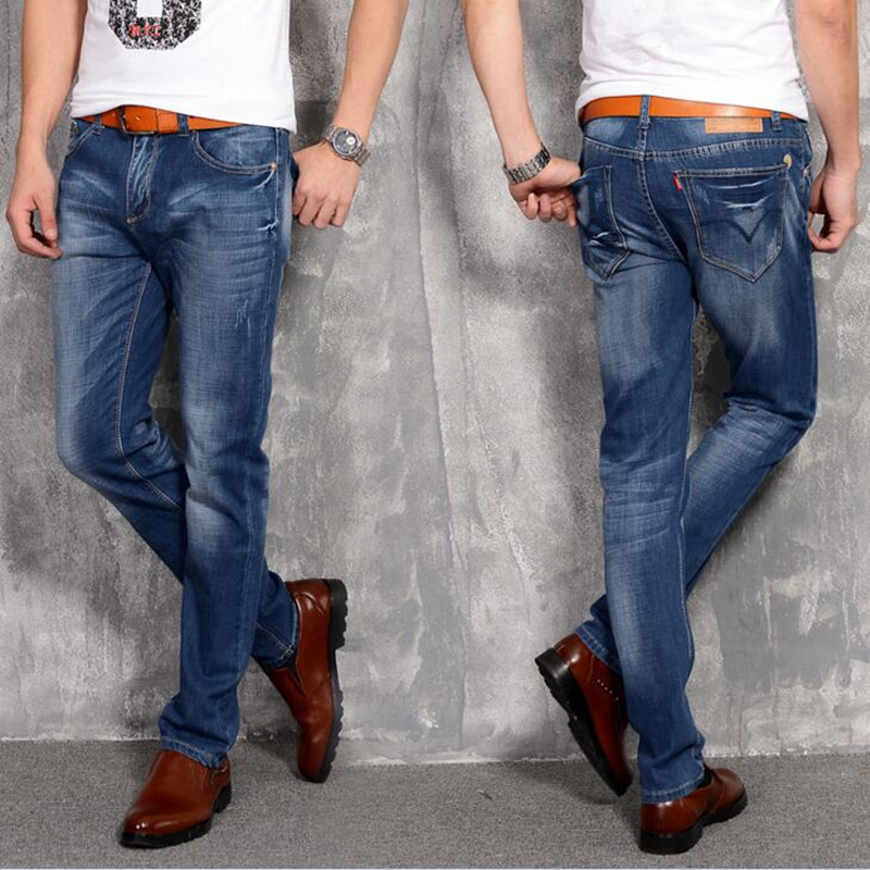 2017 New Arrival Fashion Jeans Men Korean Style Casual Stretch Slim Fit Man Straight Denim Pants High Quality Trousers Plus Size