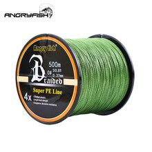 Angryfish quente novo 500m 4 fios trançado linha de pesca 8 cores super pe linha forte força