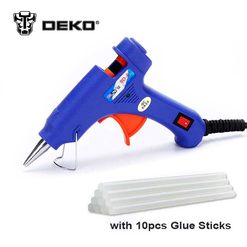 DEKOPRO 20W EU Plug Hot Melt Glue Gun with Free 10pc 7mm Glue Stick Industrial Mini Guns Thermo Electric Heat Temperature Tool newacalox industrial 150w eu plug hot melt glue gun with 1pc 11mm stick heat temperature tool guns thermo gluegun repair tools