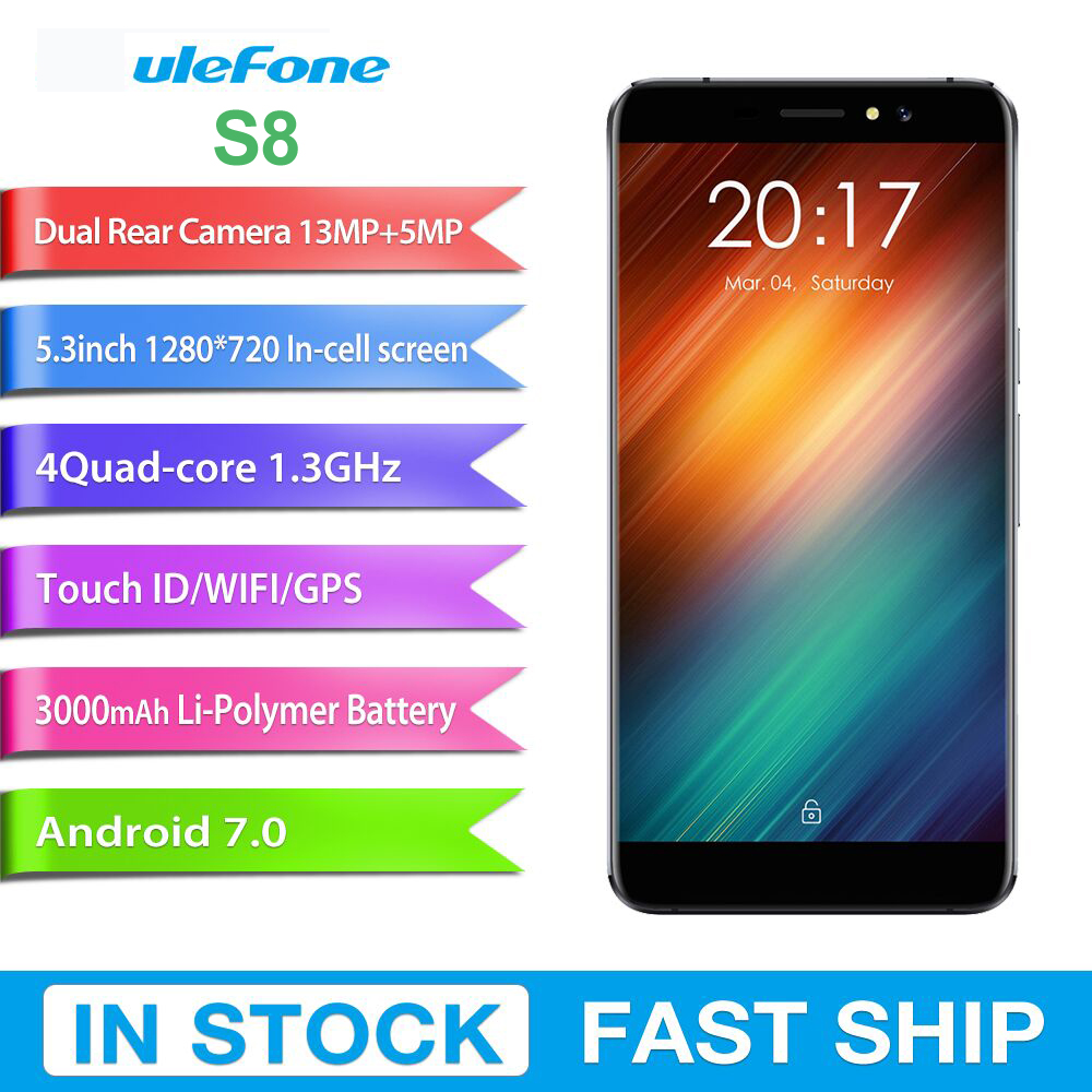 Original Ulefone S8 3G Mobile Phones Android 6.0 1GB+8GB Quad Core Smartphone Dual Back Cameras 5.3 inch Fingerprint Cell Phone