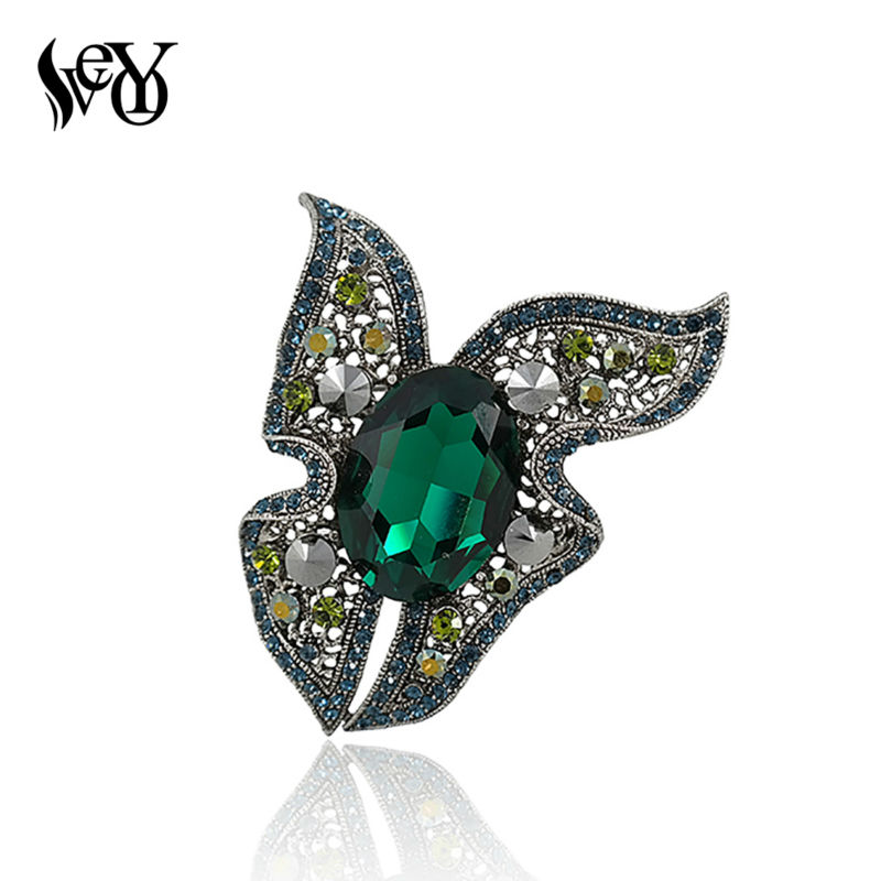 VEYO ապրանքանիշի բարձրորակ զմրուխտներ Crystal Rhinestone Butterfly Brooches for Big Vintage Brooches