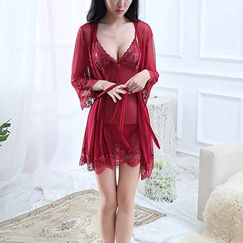 Clearance SaleSexy Lingerie Underwear Suit Dress Transparent Ladies Lace for Women Erotic Conjoined