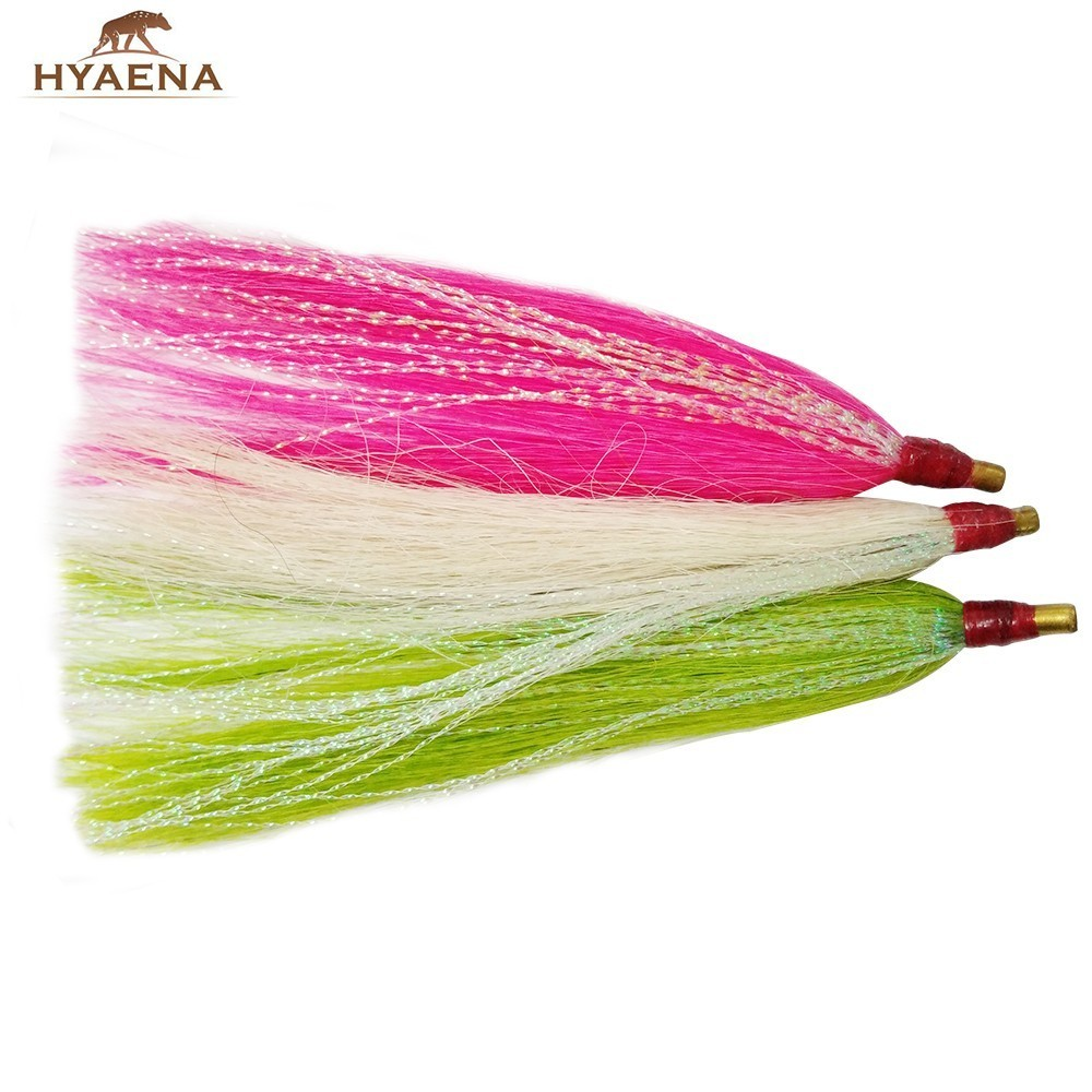 Hyaena 6pcs/lot Premium Slide Bucktail Tube Fly Fishing Flies Sea Basstail Teaser Soft Fishing Lures Fishing Tackle commercial sea inflatable blue water slide with pool and arch for kids