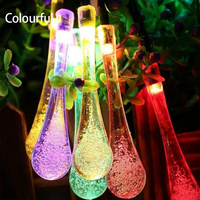 5pcs Lot 5M 30 Leds Crystal Waterdrop Solar Powered Outdoor LED String Lights Waterproof 2 Modes
