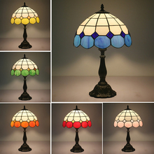 Led lamps European creative Tiffany colored glass Baroque bedroom bedside table lamp bar club lighting