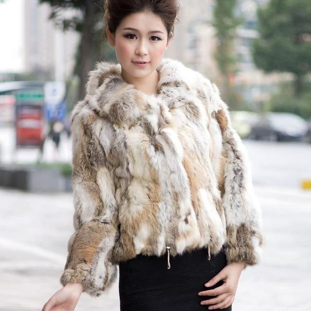 Fur Story 010120 real nature color rabbit fur coat jacket overcoat ...