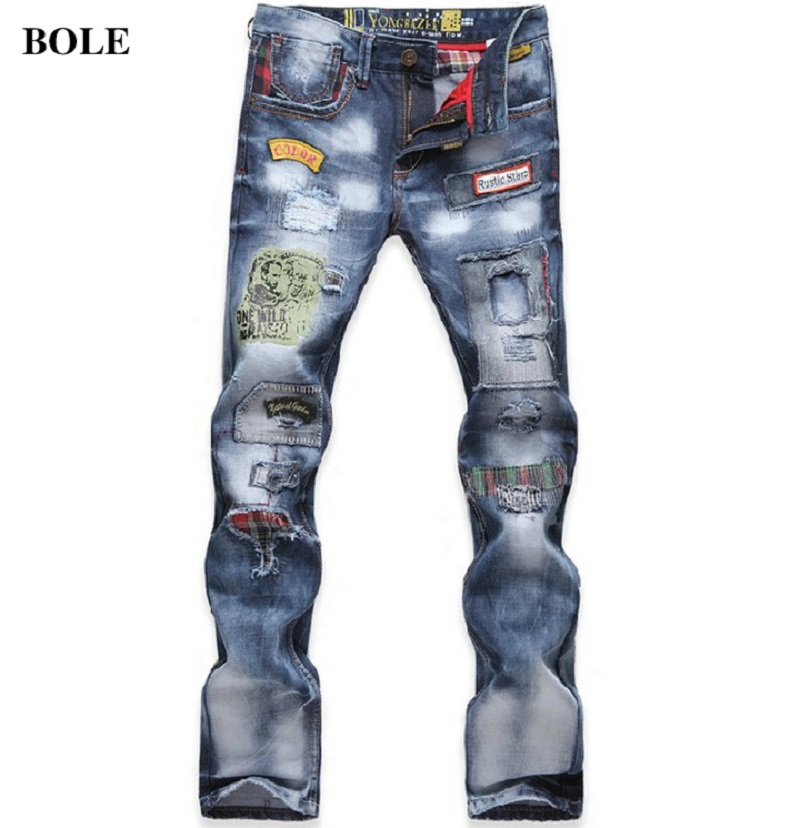 ФОТО 2016 new arrival spring Straight hole and patchwork blue Jeans men's trousers male casual trousers,plus-size 29-38